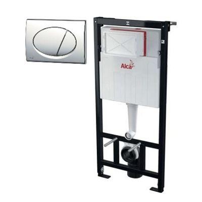 Система инсталляции для унитаза 4 в 1 Alcaplast AM101/1120+M71+M91 с кнопкой хром (Чехия)